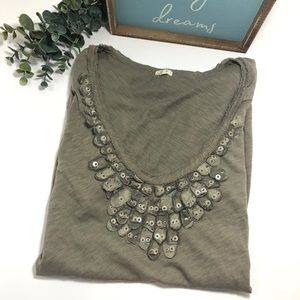 J. Crew Feathered Taupe Classic Tee
